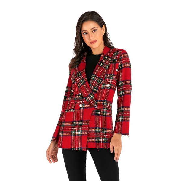 Amazon fast selling popular European and American trade Plaid long sleeve double faced woolen cardigan women's coat 6906