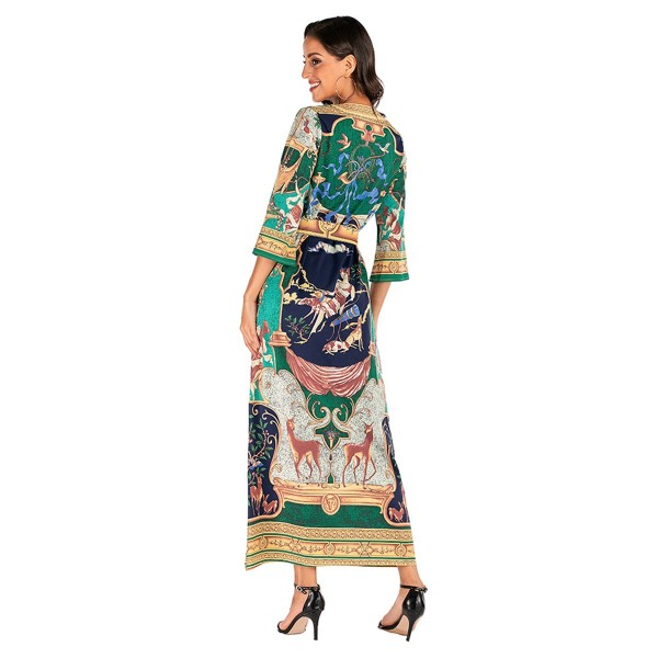 Palace print dress 2020 new European and American women's 7 / 4 sleeve lace up loose fashion retro dress 615