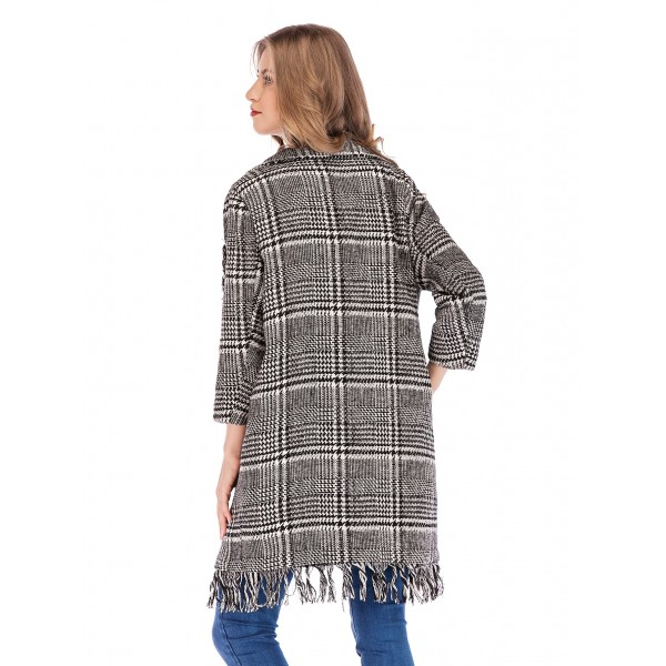Real shot of European and American foreign trade Lapel tassel Long Sleeve Plaid plus cotton women's woolen overcoat 49913 in stock