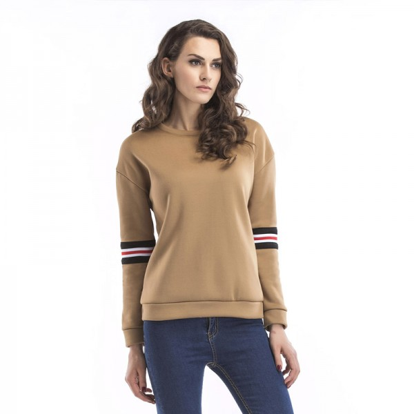 Amazon express European and American sports casual pure color sweater women's autumn dress loose and thin round neck top