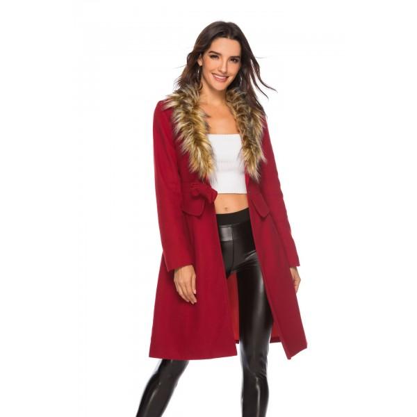 Real shot Amazon Europe and America deep V wool collar bow bow long sleeve medium length woolen coat 49319