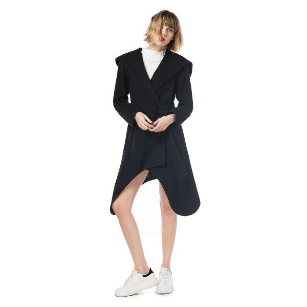 Real shot European and American long sleeve hooded lace up mid length irregular bottom woolen coat 8603