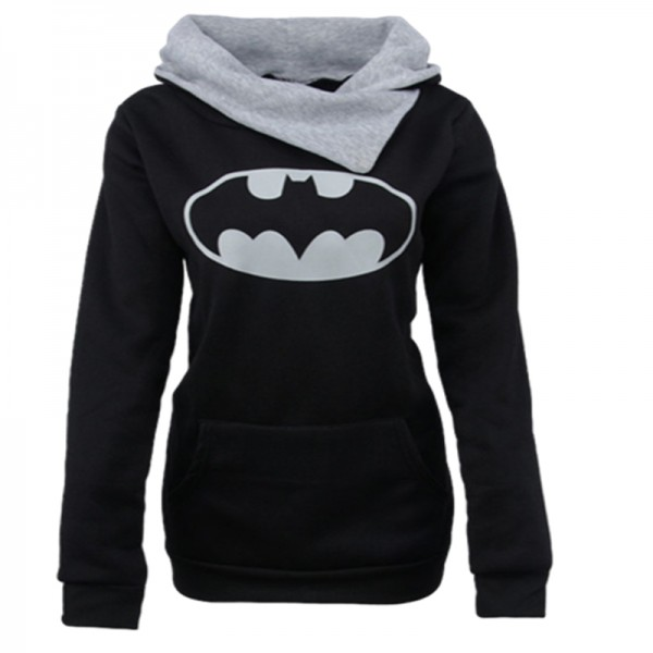 Amazon express Europe and the United States new fashion printing hooded sweater women's autumn and winter slim pile neck top