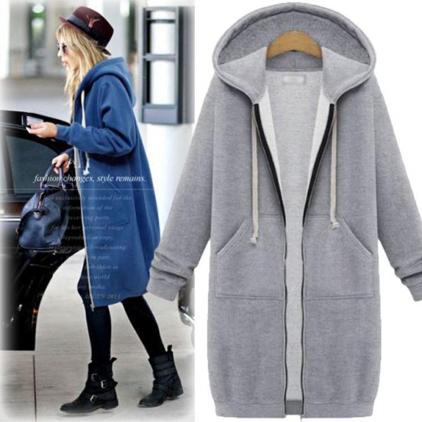 Amazon eBay autumn oversize coat loose medium length windbreaker Plush top women's Hooded Dress 7835