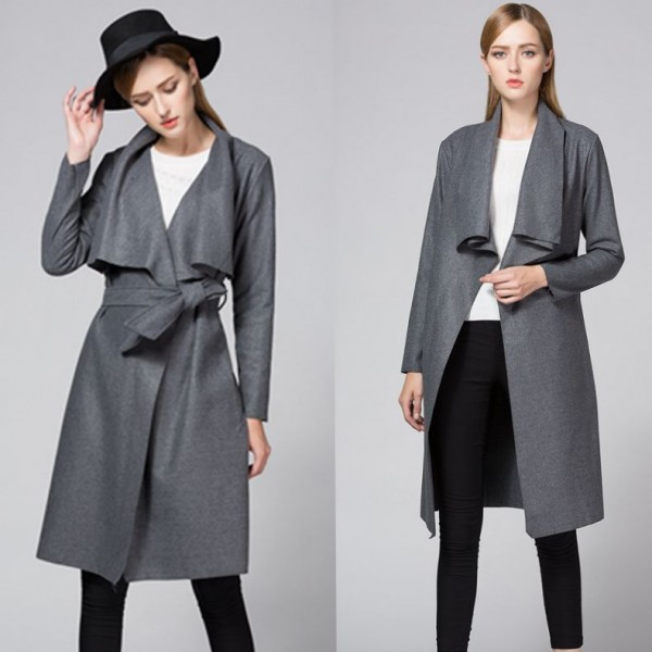 Amazon foreign trade new style Lapel cardigan lace up woolen windbreaker casual coat 8290 in stock