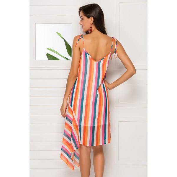 Amazon cross border new V-neck sling sleeveless irregular striped dress 4193