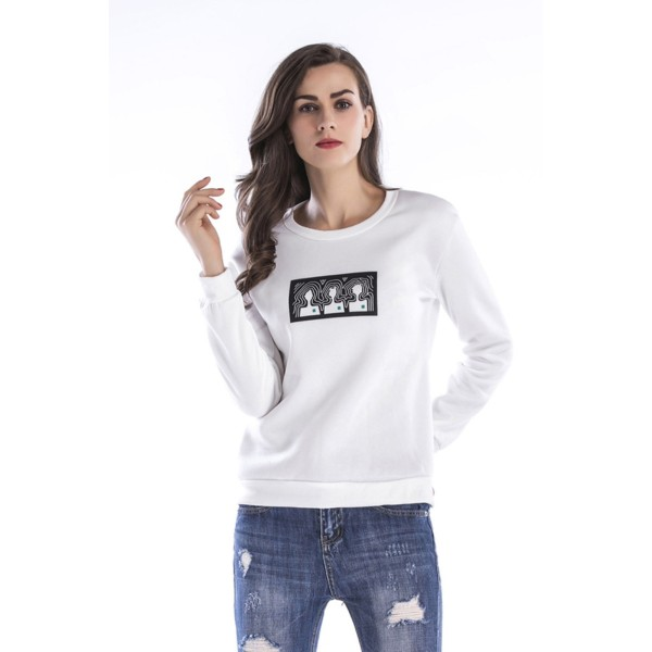 Amazon express Europe and the United States new printing casual sweater women's autumn and winter wear Plush loose Crew Neck Long Sleeve Top