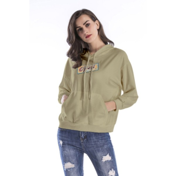 Amazon express Europe and America sports casual print hooded sweater women's autumn loose bat sleeve versatile top