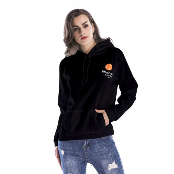Amazon express new European and American printed casual hooded sweater women's autumn and winter wear Plush loose and versatile top