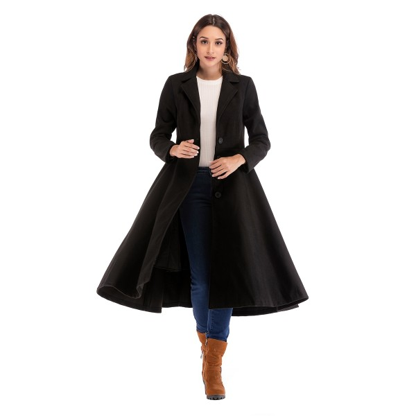 Real shot European and American long length woolen coat single breasted long sleeve large swing woolen coat 913131