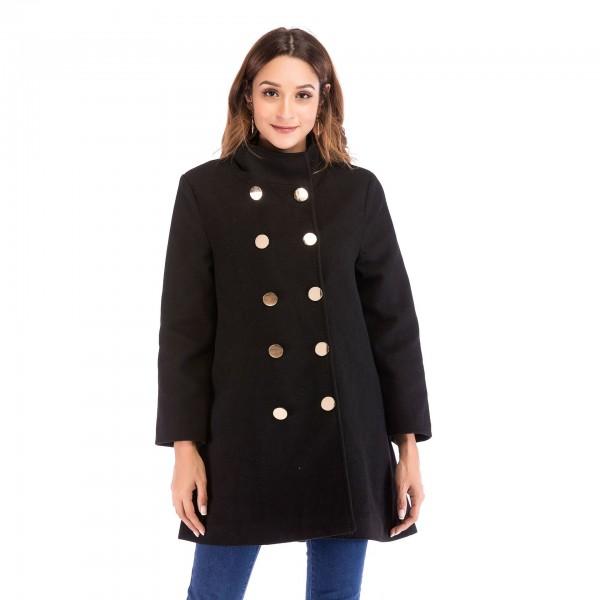 Real shot Amazon popular stand collar button 7 / 3 sleeve women's medium length woolen overcoat 8812 in stock