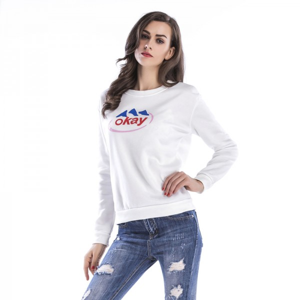 Amazon express Europe and the United States new letter printed casual sweater women's autumn and winter velvet crew neck loose top