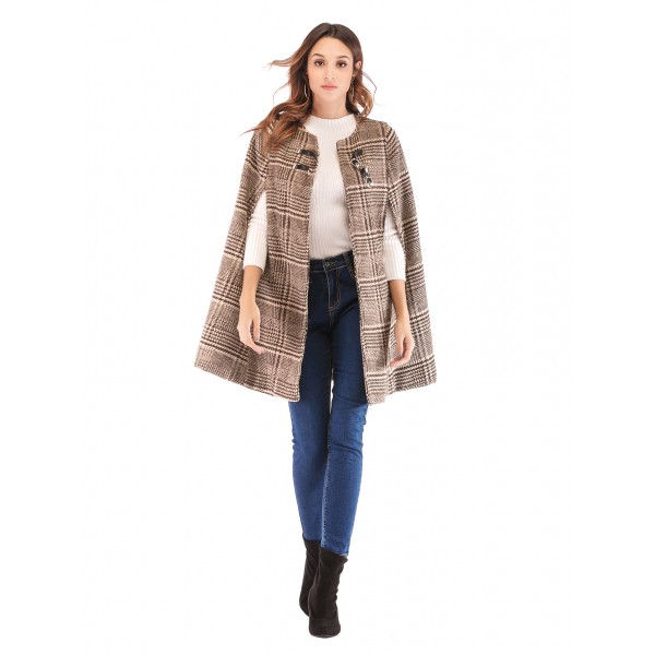 Real shot Amazon European and American new Plaid tweed leather button shawl coat 43319 in stock