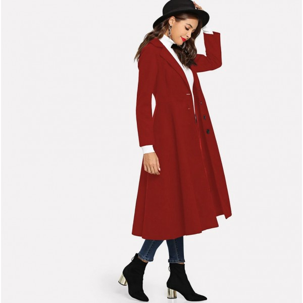 Real shot of European and American cross border extended woolen coat single breasted long sleeve large swing coat 913131 in stock