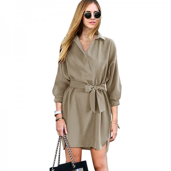 European and American foreign trade women's loose Lapel shirt lace up women's dress women's skirt 8087