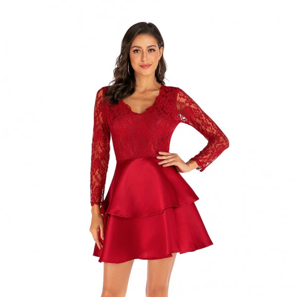Live model Amazon Europe and America cross border New Lace Wedding Dress Satin cake dress 4166 in stock