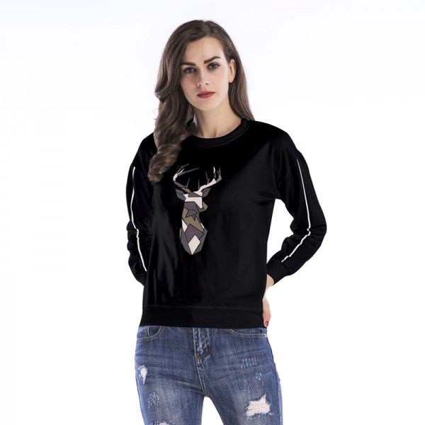 Amazon express Europe and the United States new printing casual sweater women's autumn and winter wear loose show thin round neck versatile top