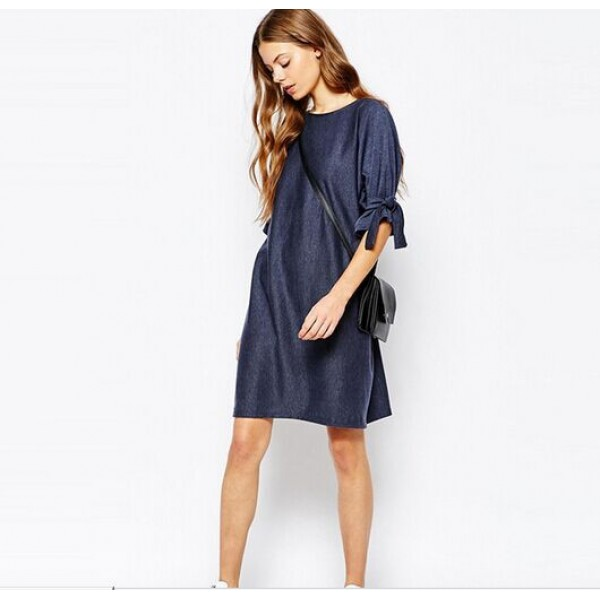 EBay express bandage bow loose A-line denim dress stock 8231