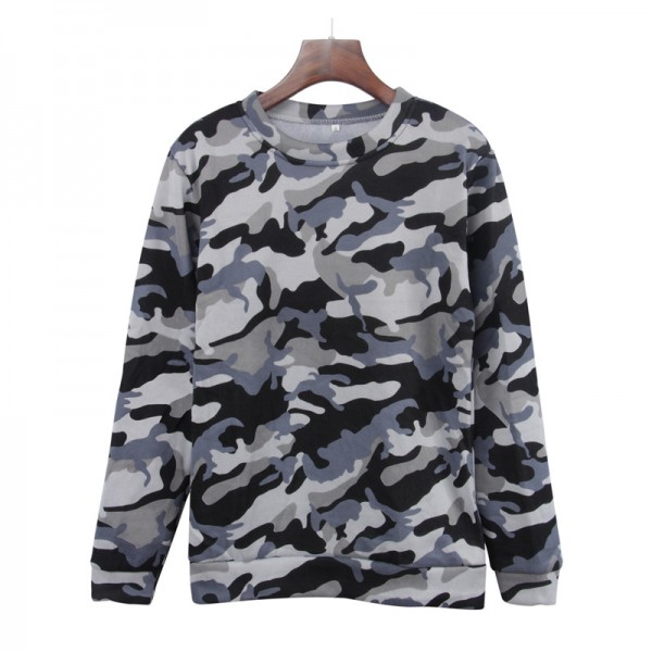 Amazon express Europe and America new casual camouflage sweater women's autumn and winter wear Plush loose crew neck versatile top