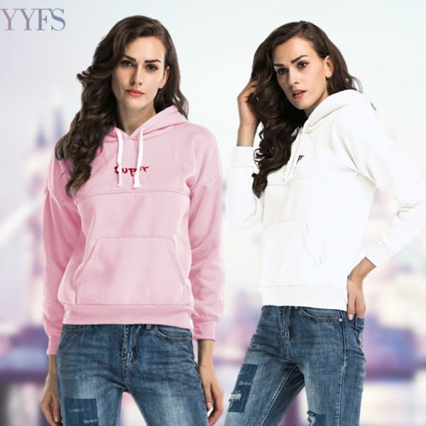 Amazon express Europe and America new letter embroidered sports Hoodie women's autumn and winter Plush casual top