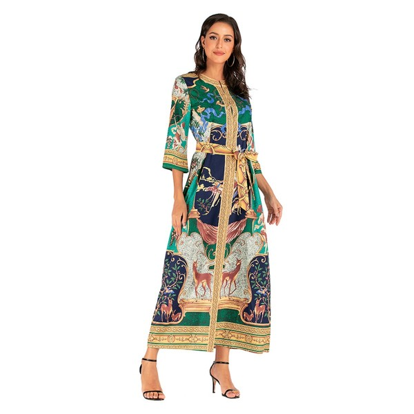 Palace print dress 2020 new European and American ...