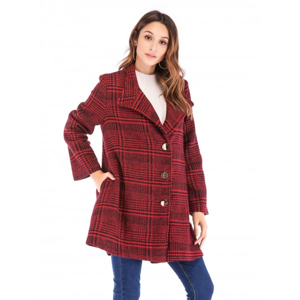 Real shot quick sale European and American Plaid tweed single breasted long sleeve woolen overcoat 43413 in stock