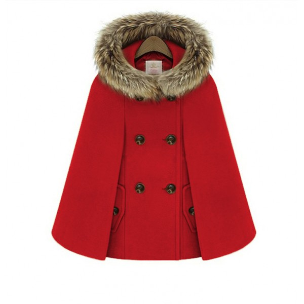 Autumn and winter New Retro British style women's Cape shawl collar hooded cape woolen coat 872 in stock