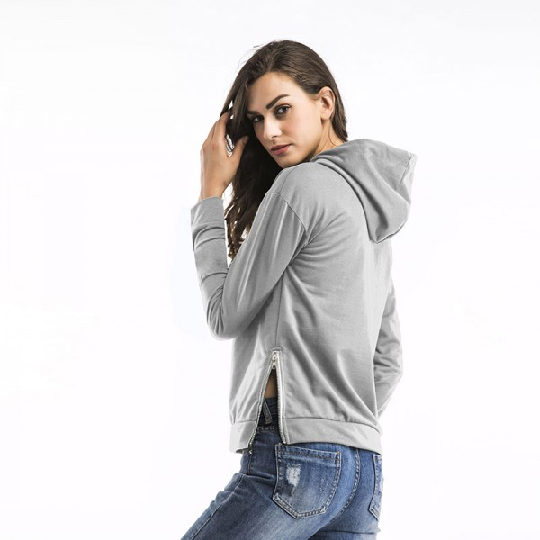 Amazon express Europe and America pure color casual hooded sweater women's autumn loose side zipper versatile top