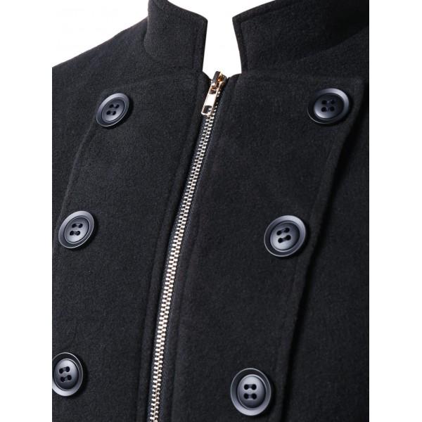 Amazon new men's stand collar double breasted zipper woolen suit coat windbreaker 9949
