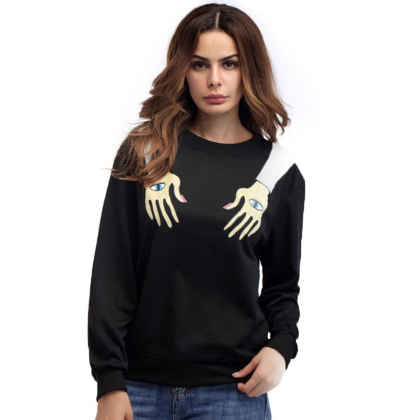 Amazon express European and American eye arm printed sweater women's autumn loose and slim round neck long sleeve top