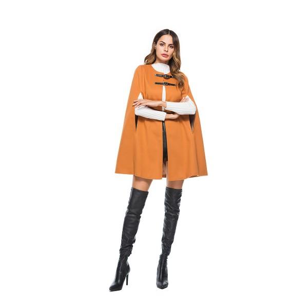 Amazon's new round neck leather button cape coat w...