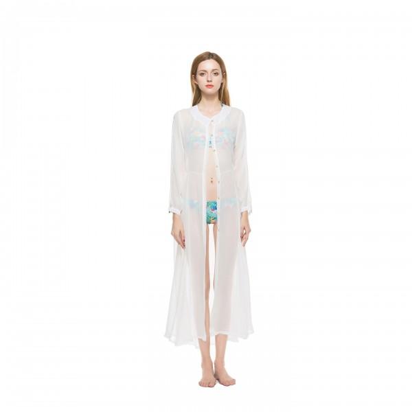 Amazon express new foreign trade Chiffon perspective cardigan dress beach sun proof shirt 8221