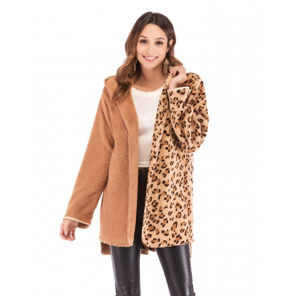 Real shot Amazon's new European and American double face fluffy leopard print hooded long sleeve cardigan 43141 in stock
