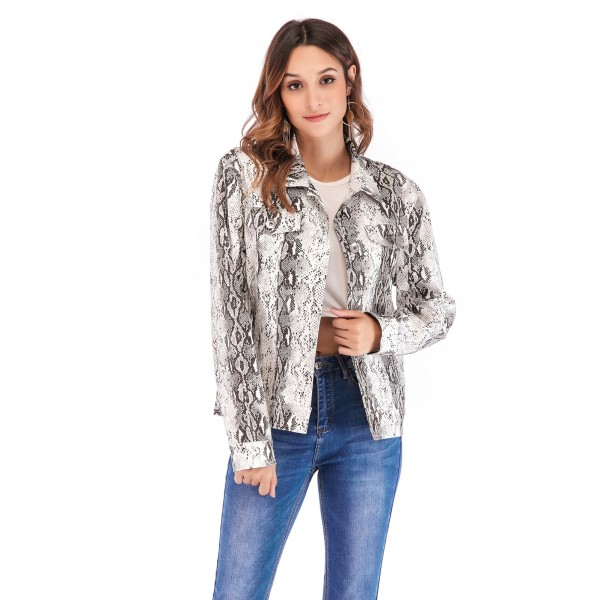 Real time model quick sale cross border popular Snake Print casual jacket top women 43913 in stock