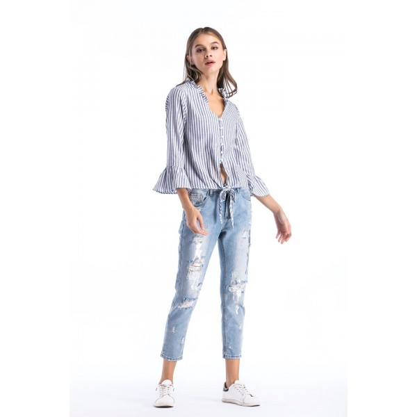 Real shot of European and American striped standing collar short sleeve pearl single breasted women's shirt top 8557 in stock
