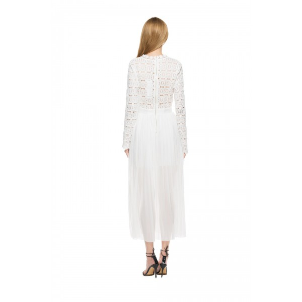 Real shot of European and American long sleeve half high neck lace hollow splicing Pleated Dress 8117 in stock