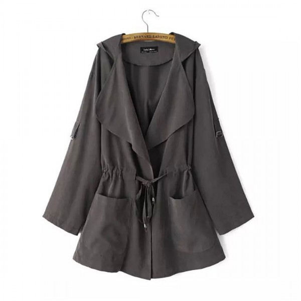 1901 spot quick sale Amazon foreign trade popular fashion medium and long hooded light windbreaker coat for women