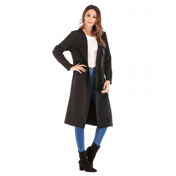 Real shot Amazon Europe and America New V-Neck long sleeve leather pocket lady's coat windbreaker 4131 in stock