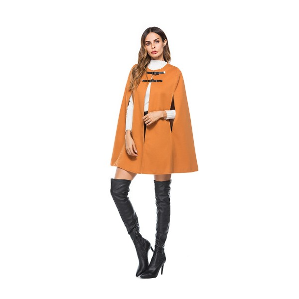 Amazon's new round neck leather button cape coat women's woolen coat 8611 in stock