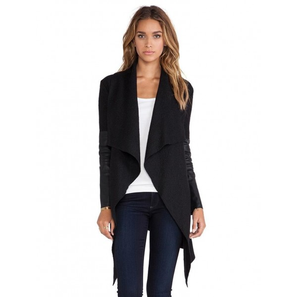 Quick selling popular style assorted leather sleeve irregular cardigan long sleeve belt woolen coat 8003 in stock