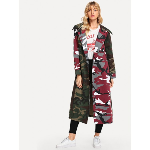 Real shot of European and American new style Lapel color matching camouflage lace up long sleeve women's windbreaker 8971 high quality spot