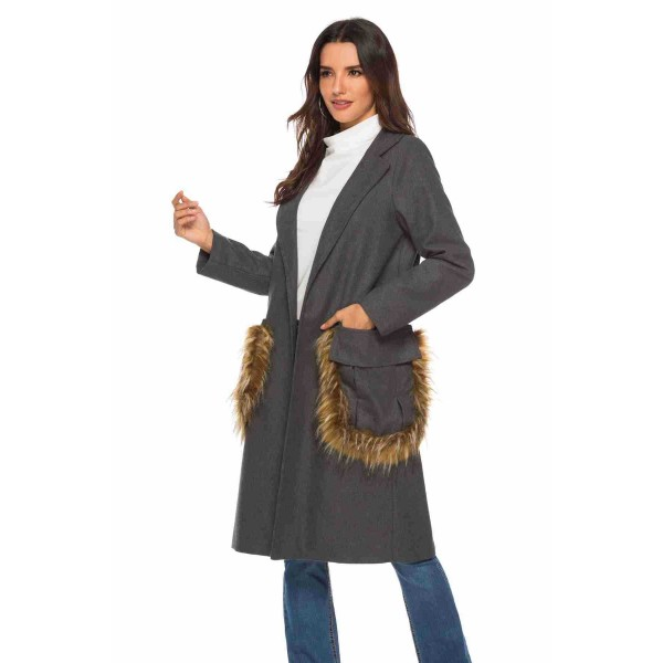 Real shot Amazon Lapel large pocket stitching wool long sleeve medium length woolen coat 43393 in stock