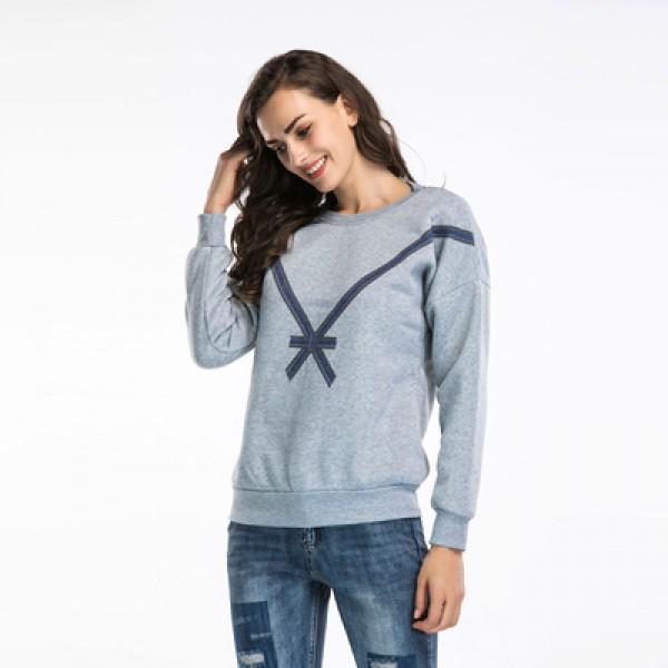 Amazon express European and American bow printed sportswear women's autumn winter Plush loose crew neck casual top