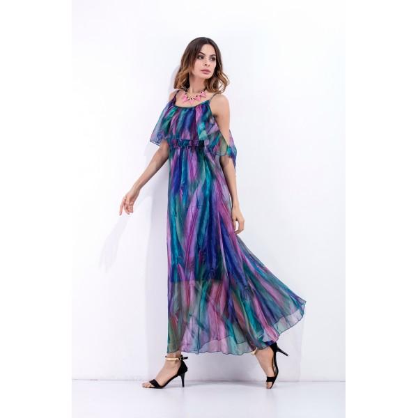 External model real shot foreign trade Tencel sling skirt open shoulder sexy waist closing seaside holiday dress 8326