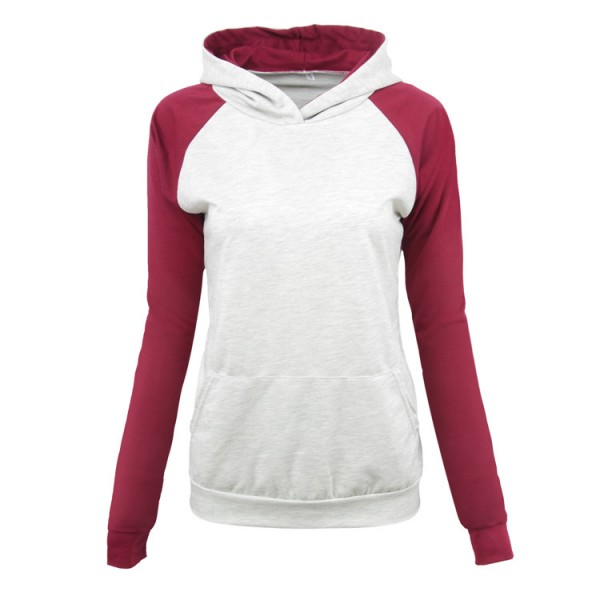 Amazon express European and American color matching casual hooded sweater women's autumn and winter temperament slim fit versatile top