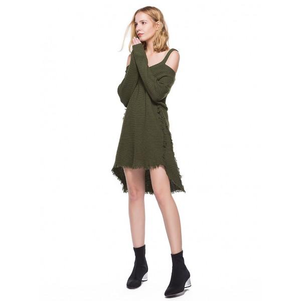 Amazon's new suspender off shoulder long sleeve tassel women's sweater dress 8530 in stock