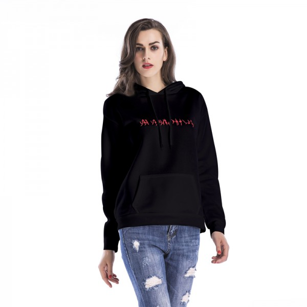 Amazon express European and American alphabet embroidery casual hooded sweater women's autumn and winter wear Plush loose and thin top