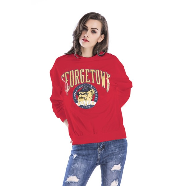 Amazon express Europe and the United States new cartoon printed casual sweater women's autumn and winter wear loose and thin round neck top