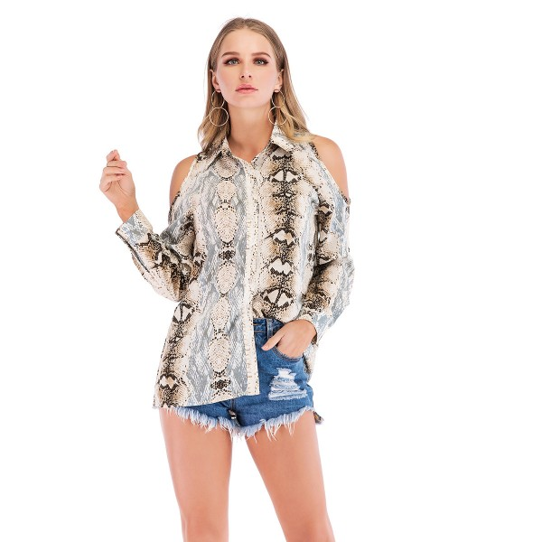 Real shot Amazon express animal print off shoulder long sleeve single breasted shirt 44301 in stock