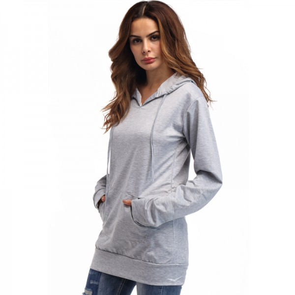 Amazon express European and American sports casual hooded sweater women's autumn and winter slim mid length versatile top
